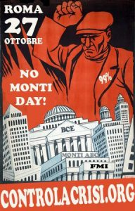 La locandina della manifestazione contro il governo Monti