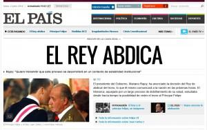 """cosi titolava il quotidiano El pais il 2 giugno del 2014: """"Il Re abdica"""""""