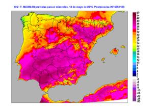 Mappa delle temperature massime previste (Aemet, Agencia Estatal de Meteorologia)