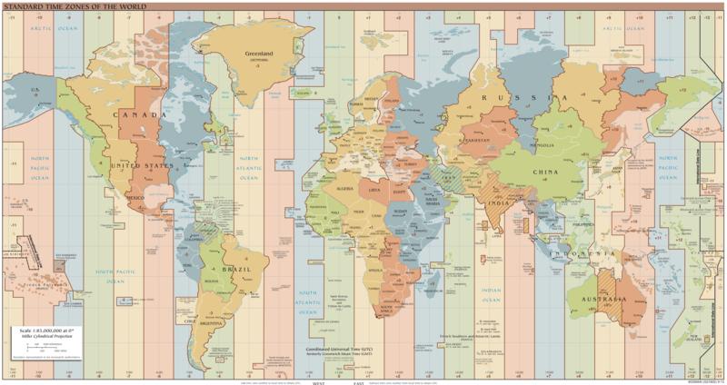 Fusi orari del mondo. Tratto da: https://commons.wikimedia.org/wiki/File:Standard_World_Time_Zones.png