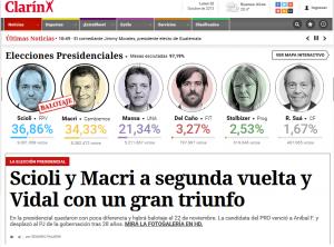 La prima pagina del Clarin, giornale argentino, il giorno dopo le elezioni del 25 ottobre 2015.