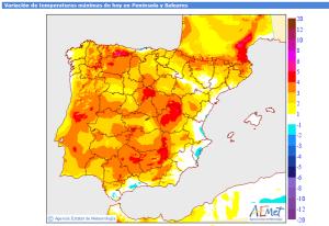 Anomalie di temperatura (mappa dell'Aemet, Agencia Estatal de Meteorologia)