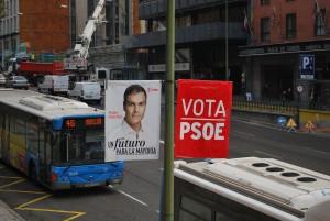 Un manifesto elettorale del PSOE (Partido Socialista) e del suo candidato alla Moncloa Pedro Sanchez (Plaza de España, Madrid (dicembre 2015)