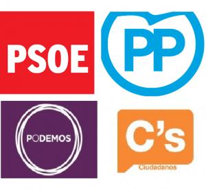 Le quattro forze politiche che nei sondaggi vengono date in testa alle elezioni del 20 dicembre