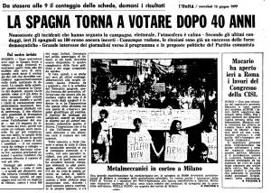 La notizia delle elezioni in Spagna sulla prima pagina de l'Unità (15 giugno 1977)