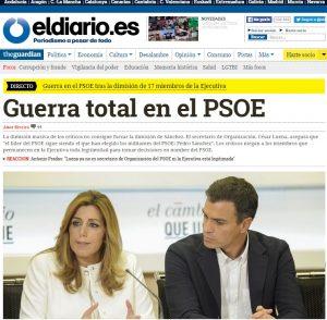 La prima pagina del giornale online eldiario.es ieri sera alle 21
